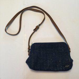 Abercrombie & Fitch Crossbody Purse Blue Tweed